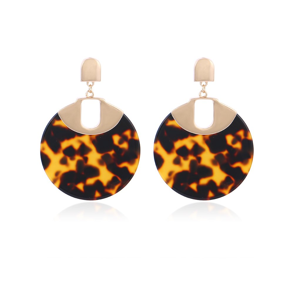 Mottled Acrylic Drop Earrings for Women,Round Resin Dangle Statement Earrings with Stud#ER80144502