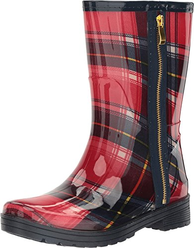Kenneth Cole Unlisted Women's Rain Zip 2 Red/Blue Plaid Boot (Red Women Boots)