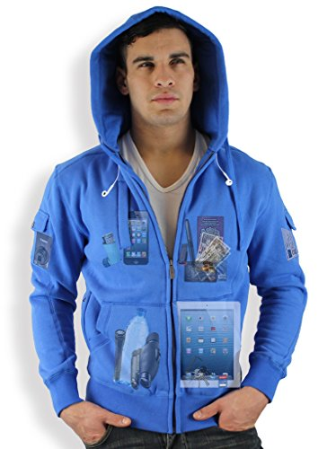 AyeGear H13 Hoodie with 13 Pockets, iPad Tablet Pocket, Multipocket Zip up Fleece Jacket, Heather Grey, XXX-Large