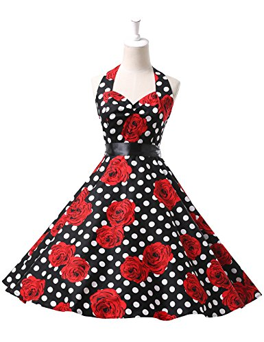 Grace Karin Womens Halter Ball Retro Vintage Dresses Color D(3XL)