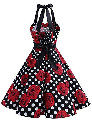 Cuello Halter White Vintage y Corto Dressystar Mujer Estampado 50s Flores Vestidos Rose Fiesta Lunares Rockabilly 60s Retro tfq8wxE