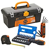 FX-Tools Toolbox With Tools Accessories Screwdriver Bits Allen Key Kit Gear Hardware