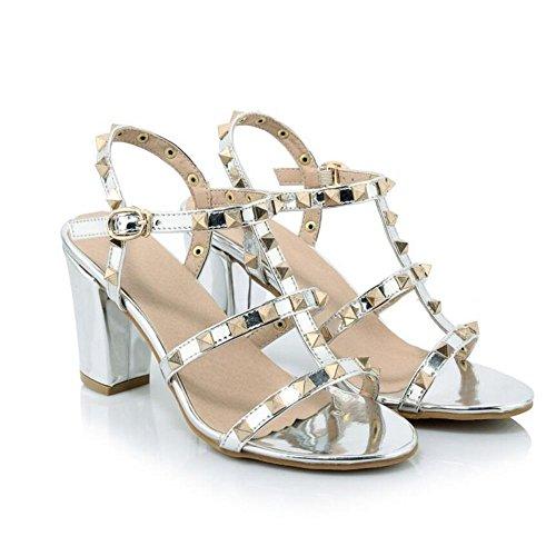 Tacones Tacones Sandalias de La Charol Mujer Plata Abierta Remaches Mujer Zapatos Hebillas Punta Gruesos Altos PdYxwIUaqx