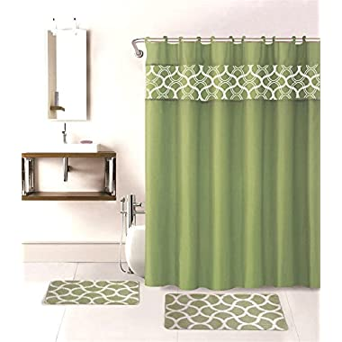 15PC GEOMETRIC SAGE GREEN PRINTED BANDED BATHROOM SHOWER CURTAIN SET BATH MAT FABRIC COVERED RINGS