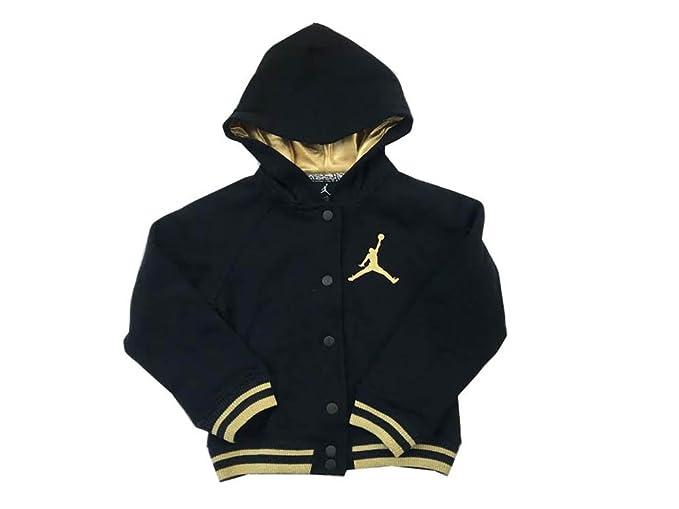 online retailer ae3a7 5a399 Nike Air Jordan Girls Varsity Hoodie Black Gold Size 6