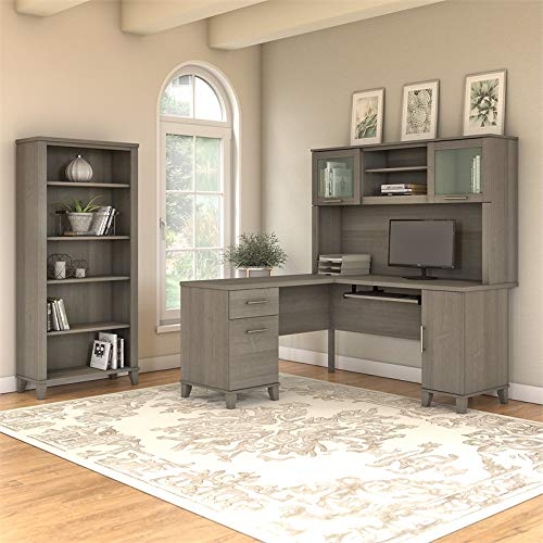 Bush Furniture Somerset 60W L Shaped Desk with Hutch and 5 Shelf Bookcase in Ash Gray