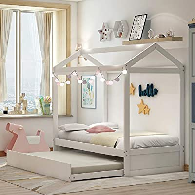 Amazon.com: Twin Daybed with Trundle, Wood Twin Size House Bed