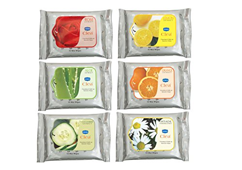 GINNI CLEA Cleansing & Make-up Remover Wipes (Rose,Lemon,Aloevera,Antiacne,Cucumber,Orange) (pack of 6) (10 wipes per pack) Price & Reviews
