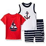 Little Me Baby Boys' 3 Piece Knit Tops and Short Set, Navy Multi, 18 Months