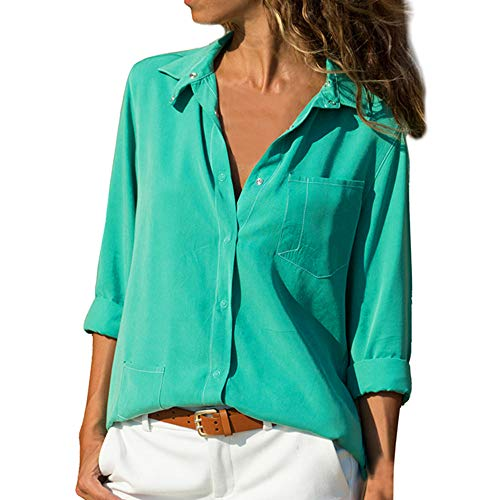 PASATO Women Casual V Neck Solid Turn-down Collar Long Sleeve Button Down Shirts Pocket Button Tops with Front Pockets(Green,L=US:M)