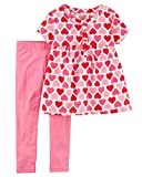 #10: Carter's Baby and Toddler Girl's Valentine's Day Pink and Red Heart Shirt and Leggings Set