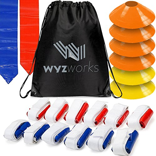 WYZworks 12 Player 3 Flag Football Kit Set - 12 Belts with 36 Flags [ 18 RED & 18 Blue Flags ] Bonus 6 Cones + Travel Bag