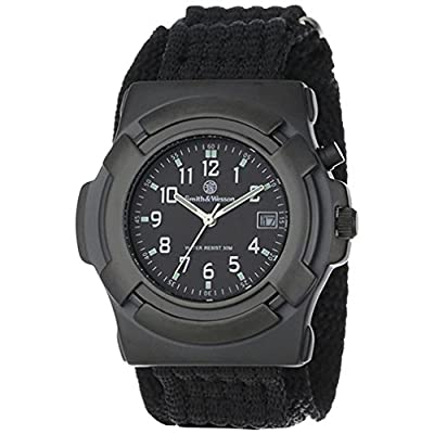 Smith & Wesson Men's SWW-11B GLOW Lawman Black Nylon Strap Watch Athletics, Exercise, Workout, Sport, Fitness