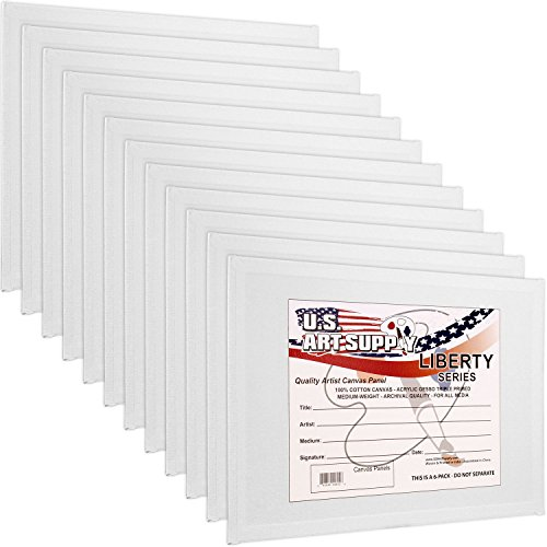 US Art Supply 12 X 16 inch Professional Artist Quality Acid Free Canvas Panel Boards for Painting 12-Pack (1 Full Case of 12 Single Canvas Board Panels)