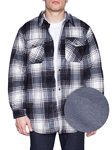 MAXXSEL Flannel Jacket For Mens Big & Tall Thermal Lined Button Down Shirt-#1 Blk/Wht-3X-Big (Jacket Lined Thermal)