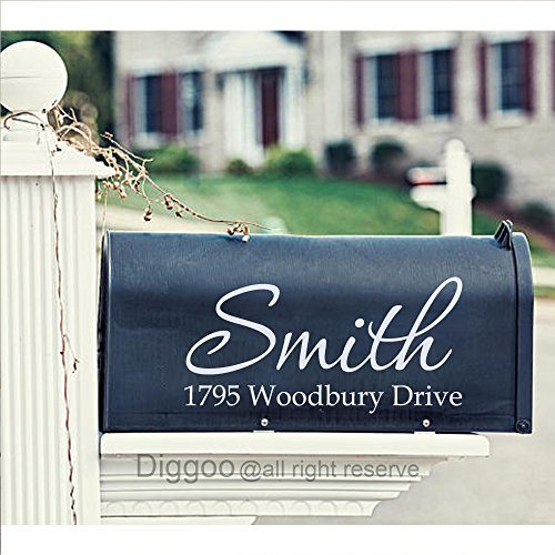 Family Mailbox (Set of 2 Custom Mailbox Decal Family Name Decal Personalized Street Address Decal For Mailbox Decor (7.5