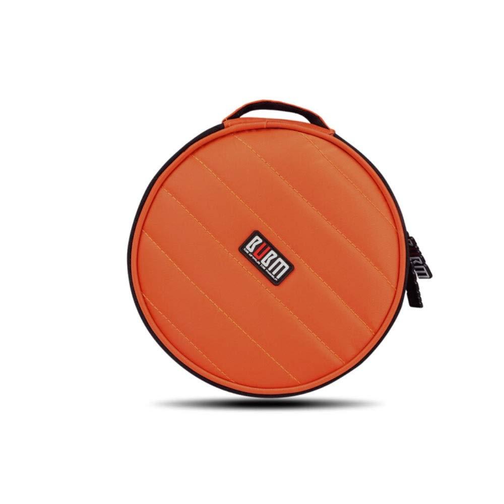 HUIJUNWENTI Car Car CD Package, 32 Car Home DVD Storage Box, Round Set Large Capacity CD Package Storage Bag, VCD CD Package Disc Package Wear Resistance, Round (Color : Orange) by HUIJUNWENTI