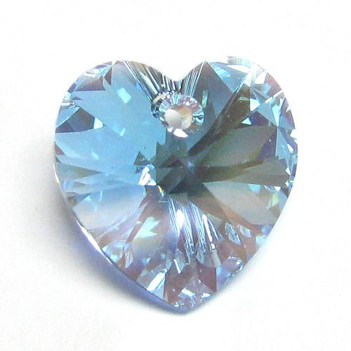 4 pcs Swarovski Xilion Crystal 6228 Heart Charm Pendant Aquamarine Ab 10mm / Findings / Crystallized Element