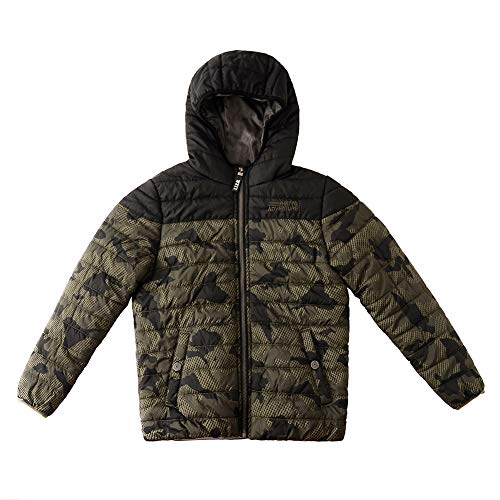 SNOW DREAMS Little & Big Boys Camo Quilted Jacket Embroidered Spliced Hooded Puffer Coat Army Green Size 4