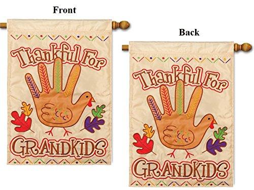 (Thanksgiving Turkey Hand Flag 28x44 Applique 2 Sided Thankful For Grandkids Turkey)