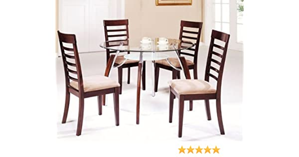 Amazoncom 5 Pc Metal And Glass Dining Table Set With Wood Trim