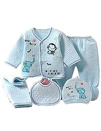 Alsmiley 5PCS Newborn Baby Boys Girls Warm Layette Set Cotton Sleepwear Top Hat Pants Bib Outfit Clothes Sets for 0-3M