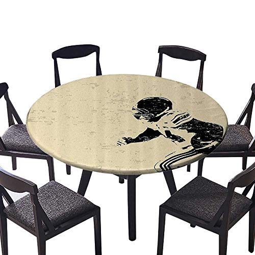 Round Fitted Tablecloth Rugby Player in Acti Running Success in Arena Playground USA Sport Team Pict for Family Dinners or Gatherings 59