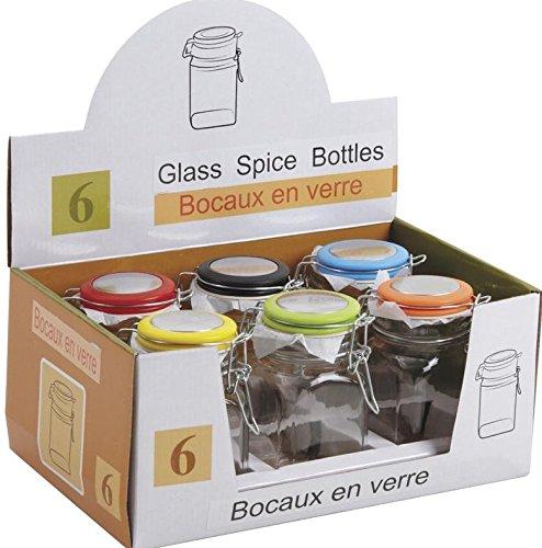 Conjunto de 6 frascos de vidrio de conservación cuadrado