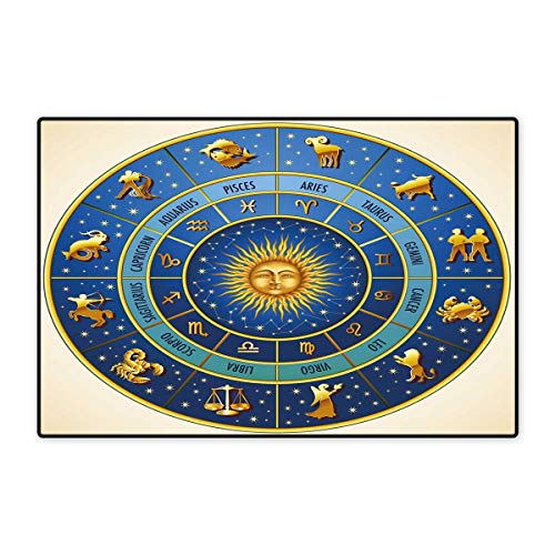 Mirage Collection 1 Light - Astrology Door Mats Area Rug Wheel of Astrological Signs Names and Dates with Moon Sun in Middle Floor mat Bath Mat 20