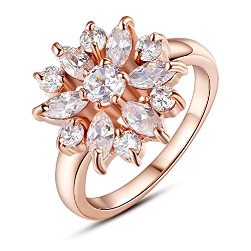 BAMOER 18K White Rose Gold Plated Cubic Zirconia Snowflake Ring for Women Girls CZ Jewelry Fashion Ring 3 Style Rose Gold & White CZ Ring Size 9