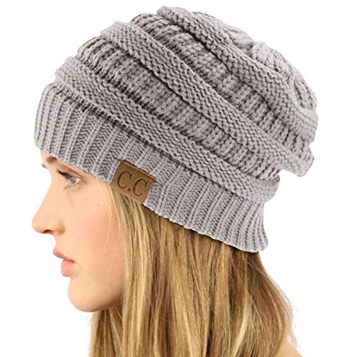 Ny Fashion (Unisex Winter Chunky Soft Stretch Cable Knit Slouch Beanie Skully Hat Cap Gray, One Size)