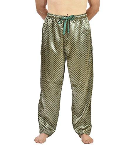 Up2date Fashion Men's Satin Tie Print Sleep & Lounge Pants (XL, Sky (Black Silk Pants)