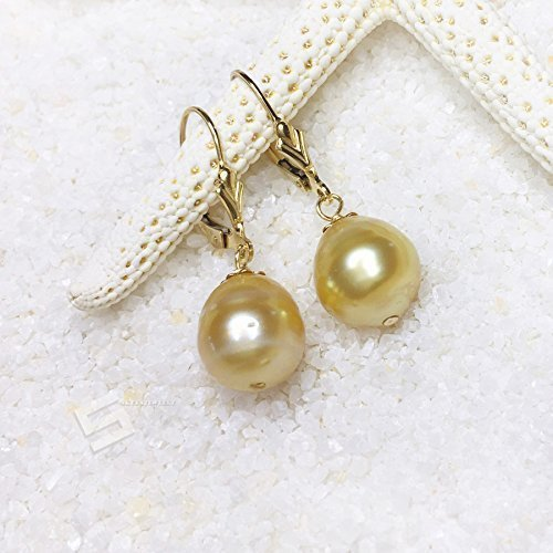 Authentic Golden Pearls & 14KT Gold Filled Earrings, 9-11MM Baroque Golden pearl In Gold Filled Level Back Earrings, SouthSea Pearl Earrings