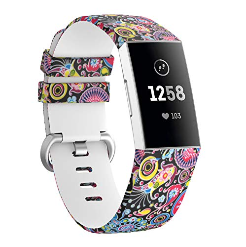 KisFace Accessaries for Charge 3 Bands,Photo Print Series Silicone Straps with Metal Buckle Design Small&Large for Fitbit Charge 3 Wristband(Opera Mask)