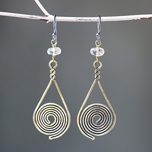 Earrings,Brass earrings in spiral design in teardrop shape with lemon quartz on sterling silver oxidized hooks - Lemon Drop Quartz