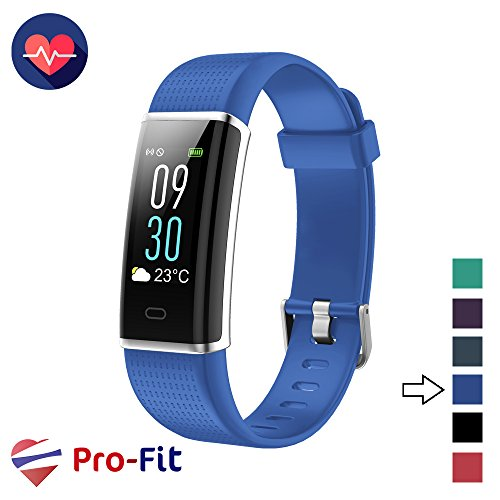 Pro-Fit Fitness Tracker, Activity Tracker with Color Screen, Heart Rate Monitor, 14 Sports Modes & Sleep Monitor, IP67 Waterproof Pedometer Watch, VeryFitPro Smart Wristband, Android & iOS - Pro Watch Blue