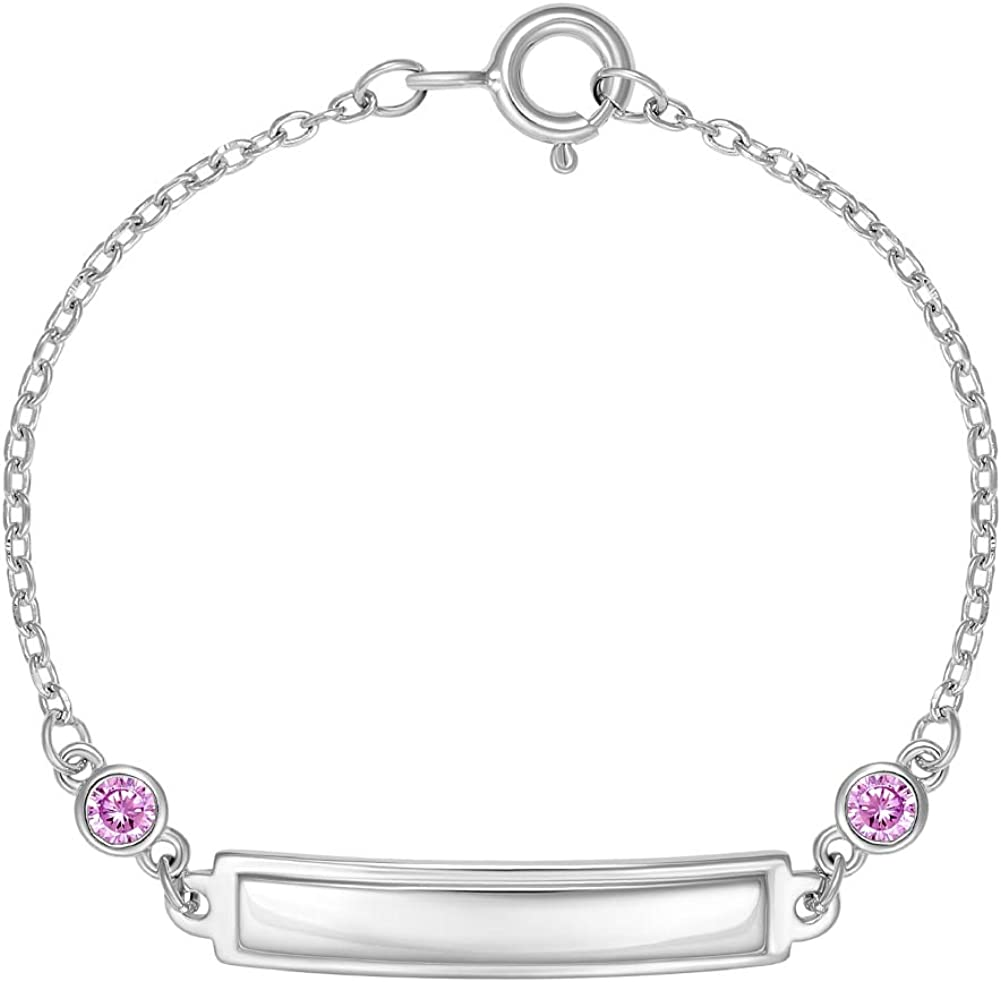 Sterling Silver Children/'s Baby Engravable ID Bracelet 5.5 inches Engraved Personalized Name Initials Baby Shower Gift