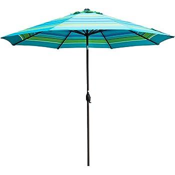 Abba Patio 11 Feet Striped Patio Umbrella Outdoor Table Market Umbrella  Push Button Tilt Crank