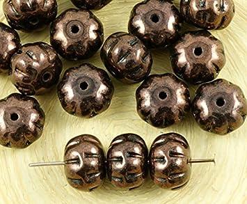 Opaque metallic bronze czech glass squashed melon beads fruit pumpkin halloween