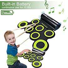 Rechargeable Electronic Drum Set, Roll Up Drum Practice Pad Midi Drum Kit with Headphone Jack Built-in Speaker Drum Pedals Drum Sticks 10 Hours Playtime for Children Kids Gift Christmas Present