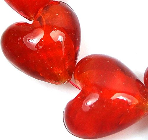 60 pcs Lampwork Handmade Glass Silver Foil Hyacinth / Red Orange Heart Beads