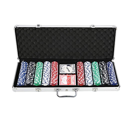 Lucky Tree 11.5 Gram Poker Chip Set for Blackjack, Texas Holdem with Aluminum Case, 500 Plastic Casino Chips, 5 Dice, 2 Decks of Playing Card, Dealer Buttons