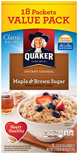 Quaker Instant Oatmeal, Maple Brown Sugar Value Pack, Breakfast Cereal, 1.51 Ounce, 18 Packets (Pack of 4) (Instant Oatmeal Maple And Brown Sugar Nutrition)