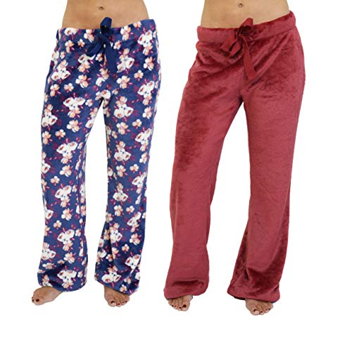 Cherokee Women's 2-Pack Fleece Plush Pajama Pants, Multi, L