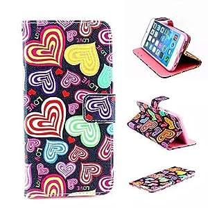HC-Amor colorido estilo de la carpeta de la PU cuero caso de cuerpo completo con soporte para para el iphone 6