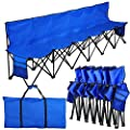 Yaheetech Lightweight Folding Team Sport Bench 6 Seater Blue Sideline Seats with a Carry Bag - Bigger than others