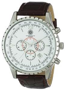 Constantin Durmont Aerotec - Reloj cronógrafo de caballero de cuarzo con correa de piel marrón (cronómetro) - sumergible a 30 metros