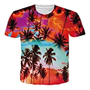 UNIFACO Unisex 3D Printed Short Sleeve Aloha Hawaiian T-Shirt Tees S-XXL