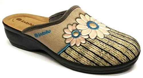 Inblu - Zapatillas de Estar por casa de Tela para Mujer Beige TóRTOLA 37.5: Amazon.es: Zapatos y complementos