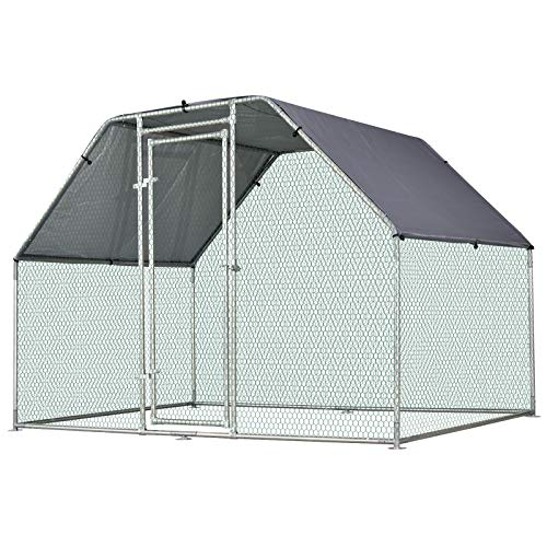 PawHut Galvanized Metal Chicken Coop Cage with Cover, Walk-in Pen Run, 9' W x 6' D x 6.5' H (Best Chicken Coop For 6 Chickens)